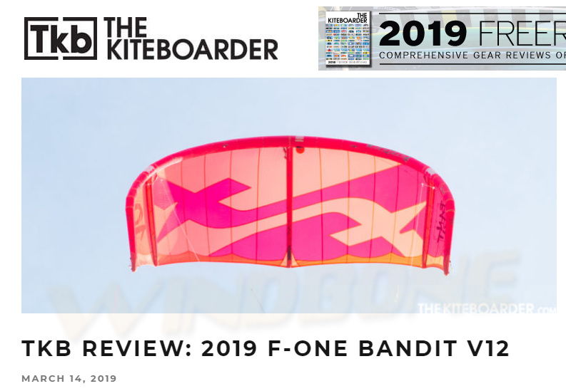 2019 F-One Bandit Kite Review by TKB The Kiteboarder Magazine Review