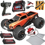 Team RedCat TR-MT10E 1:10 RC Monster Truck Complete Hexfly 403 Charger + 2 Battery Pack Bundle