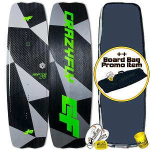 2018 Crazyfly Raptor LTD Neon Carbon Kiteboard Pro Limited Twintip + Promo (Closeout)